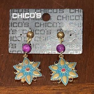 NWT Hypo-allergenic Chico's snow flake earrings